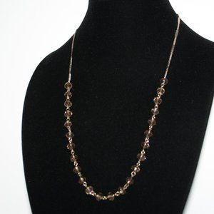 Long gold and crystal necklace adjustable